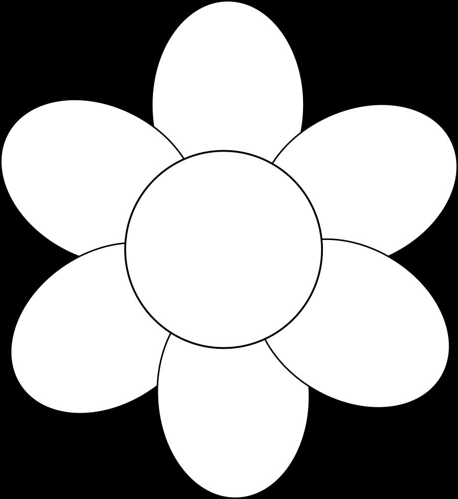 Onlinelabels Clip Art Flower Six Petals Black Outline