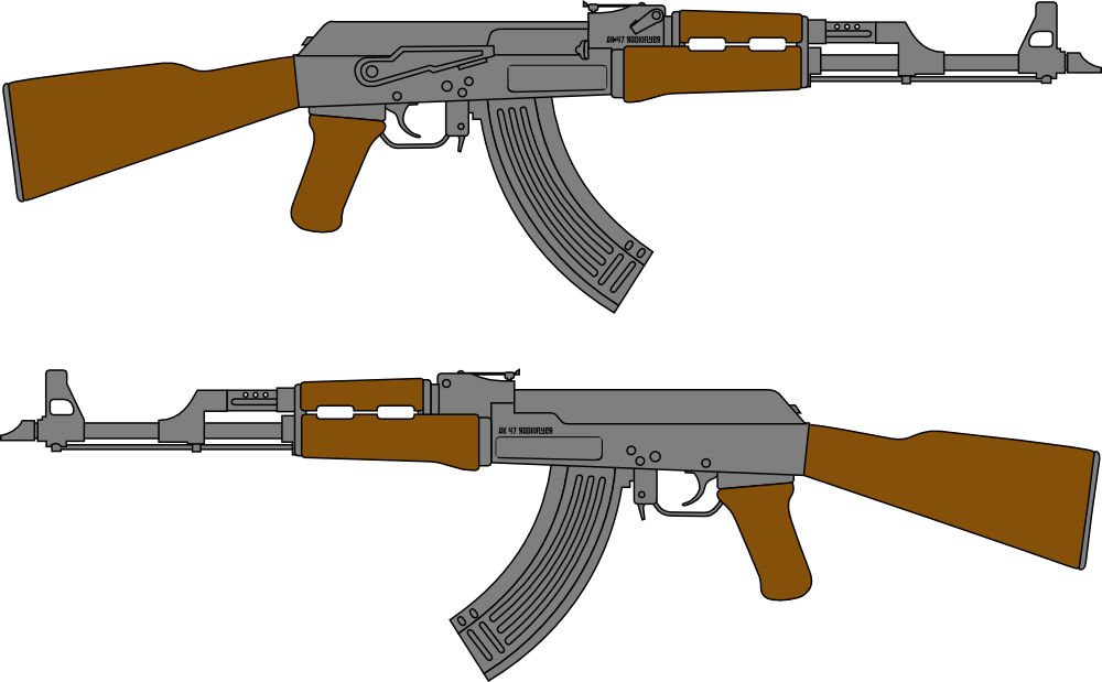 It is a photo of Nifty Drawing Of Ak 47