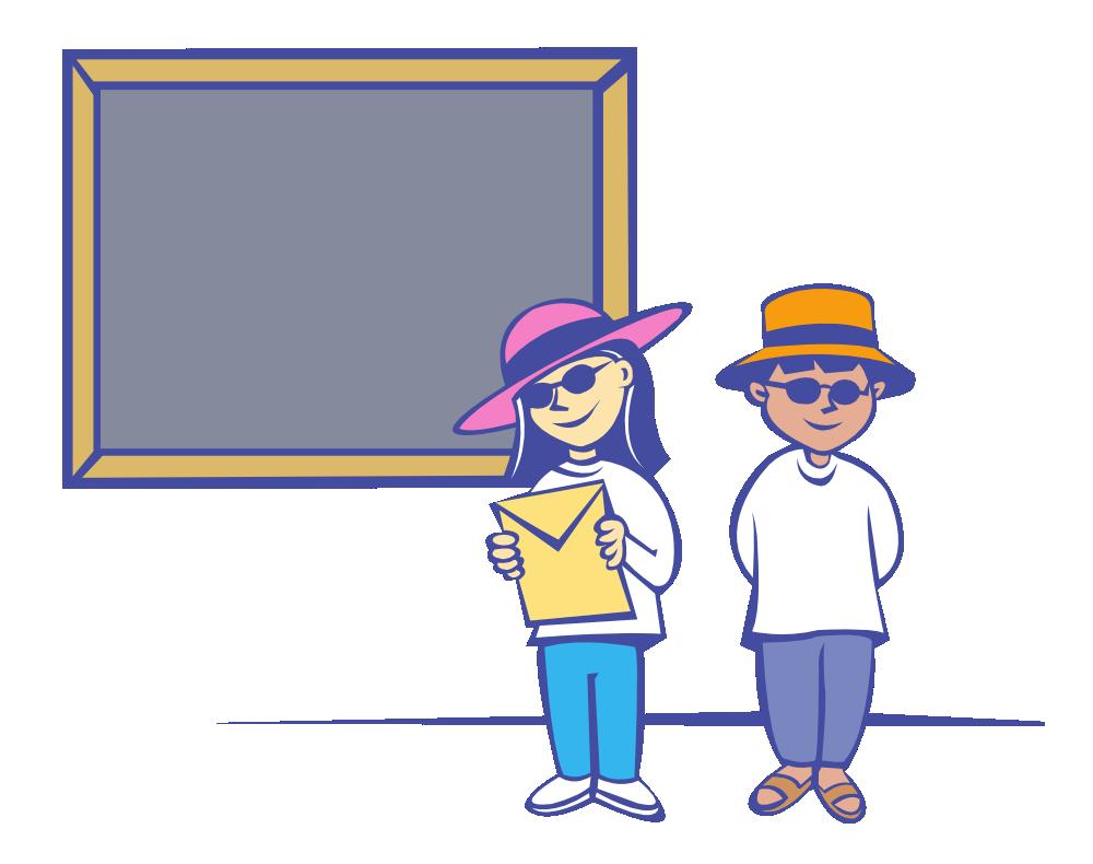 OnlineLabels Clip Art - Kids In Front Of A Blackboard