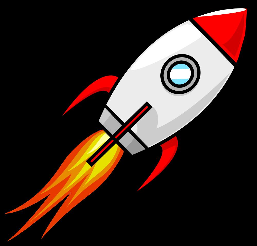 OnlineLabels Clip Art - Cartoon Moon Rocket Remix 2