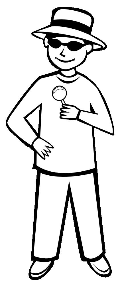 OnlineLabels Clip Art - Spy Kid Outline 2
