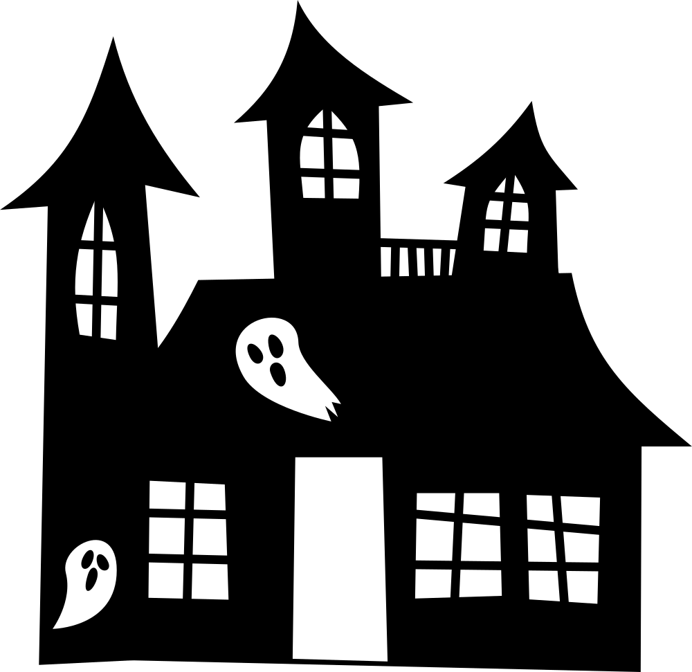 Free Haunted House Clipart Black And White
