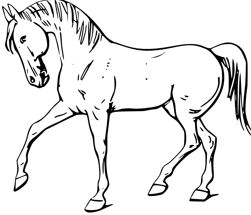 Printable Line Drawings Of Animals : Onlinelabels clip art walking horse outline