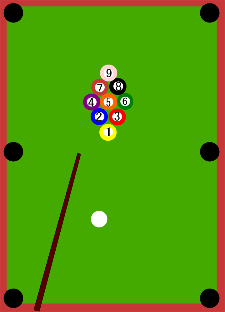 OnlineLabels Clip Art - 9 Ball Pool Table Set Up
