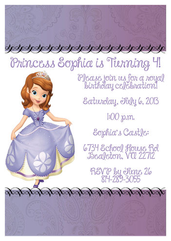 Sophia the First Invitation
