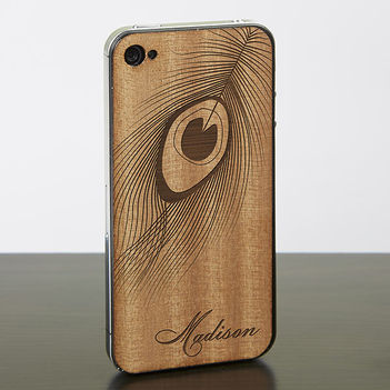 Peacock Engraved Cell Phone Case