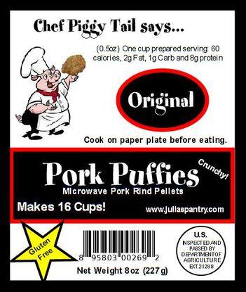 Microwave pork rind label