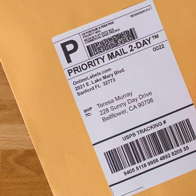 Shipping labels in use