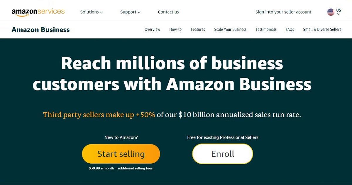 Amazon Business homepage screenshot.screenshot.