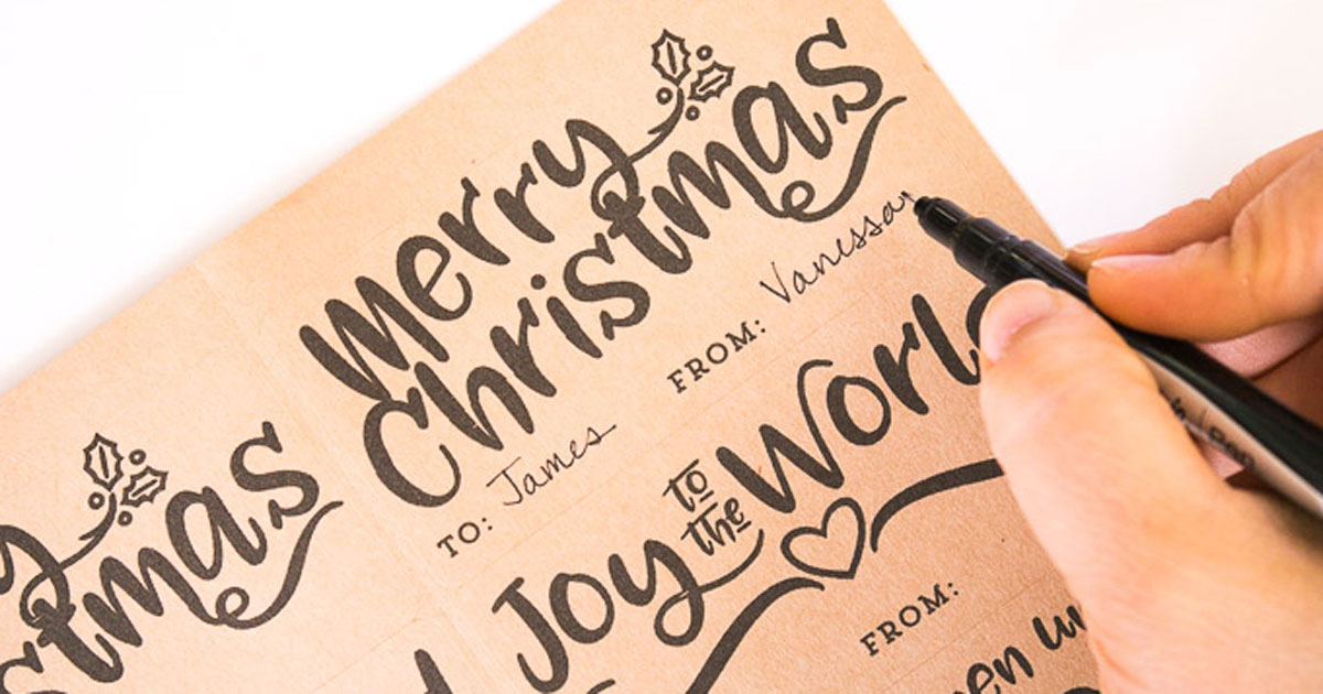 DIY Christmas sayings on present gift tag printable sticker, step 2