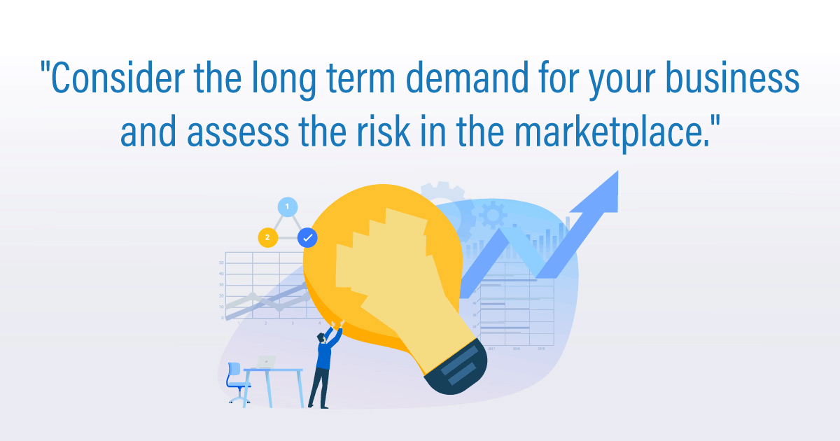 """Consider the long term demand for your business and assess the risk in the marketplace."""