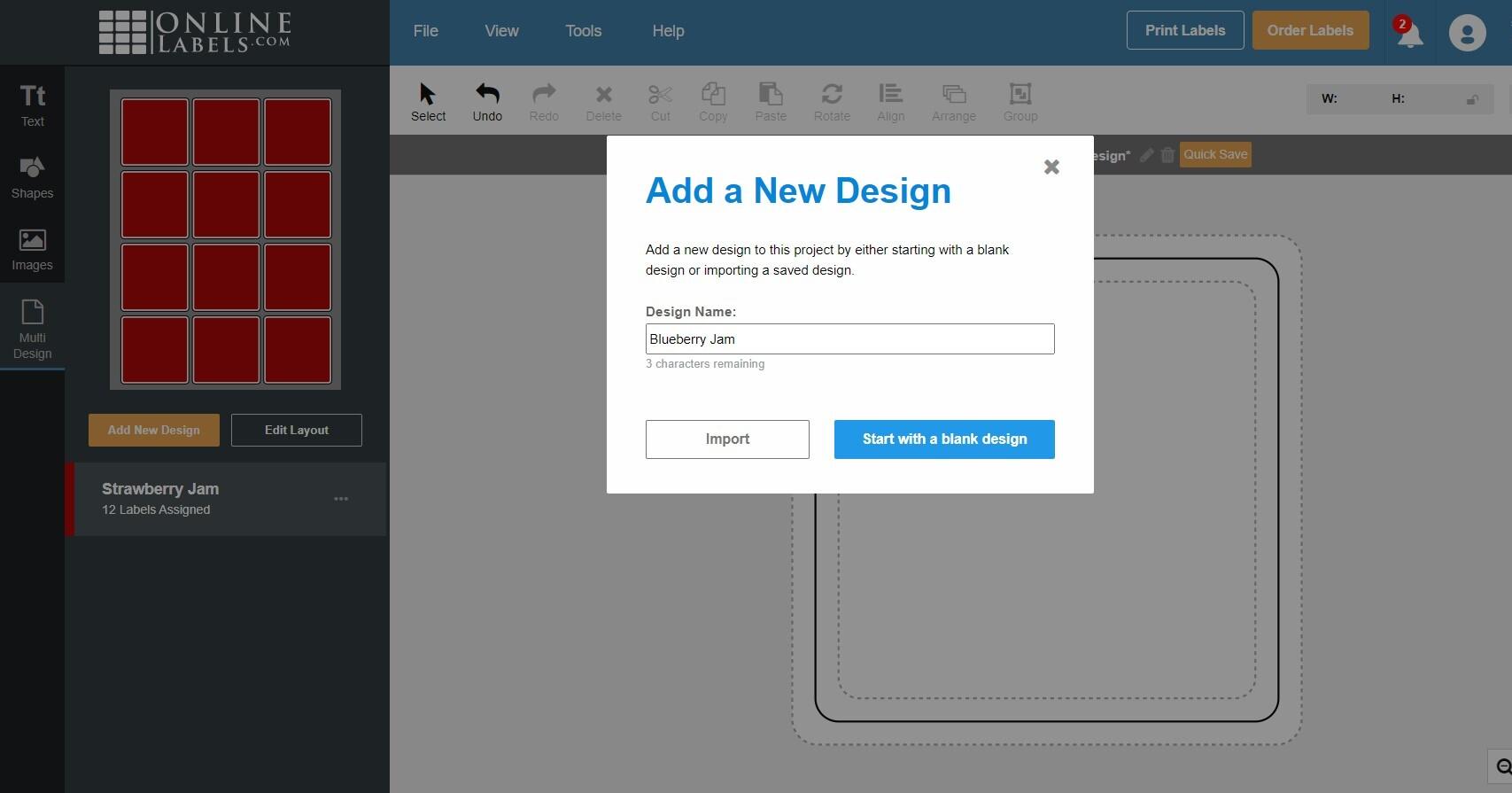 Add a new design using the multi design tool