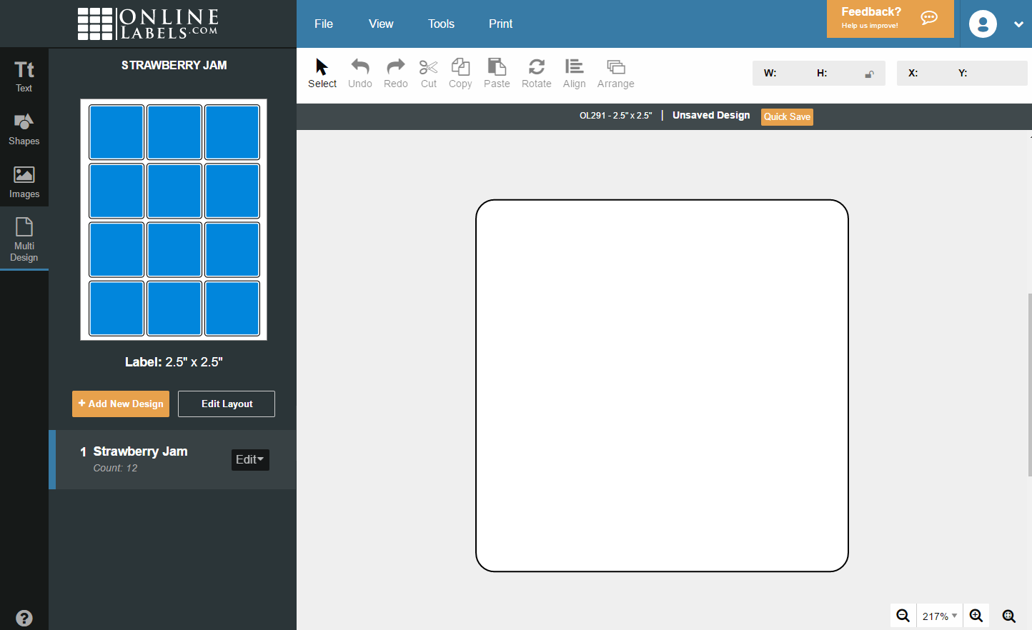 Starting a new design in page view
