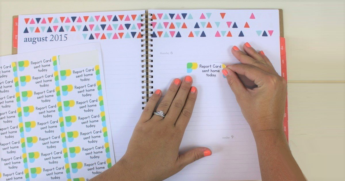 Send students home with notes for their parents with printable planner stickers