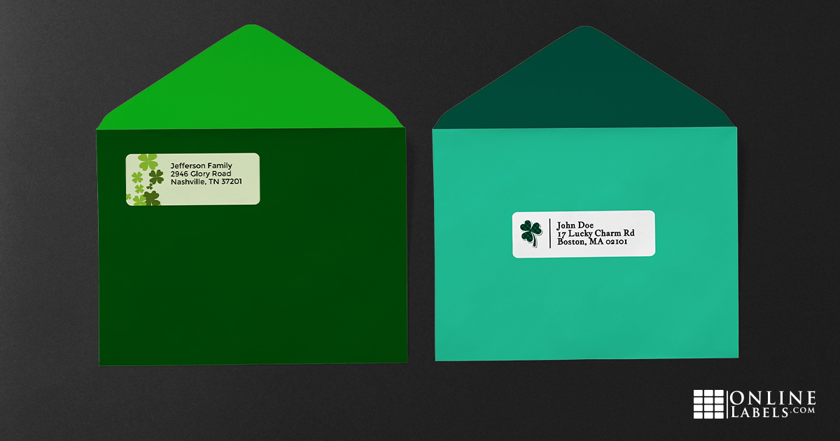 Free printable address label templates to celebrate St. Patrick's Day all March long