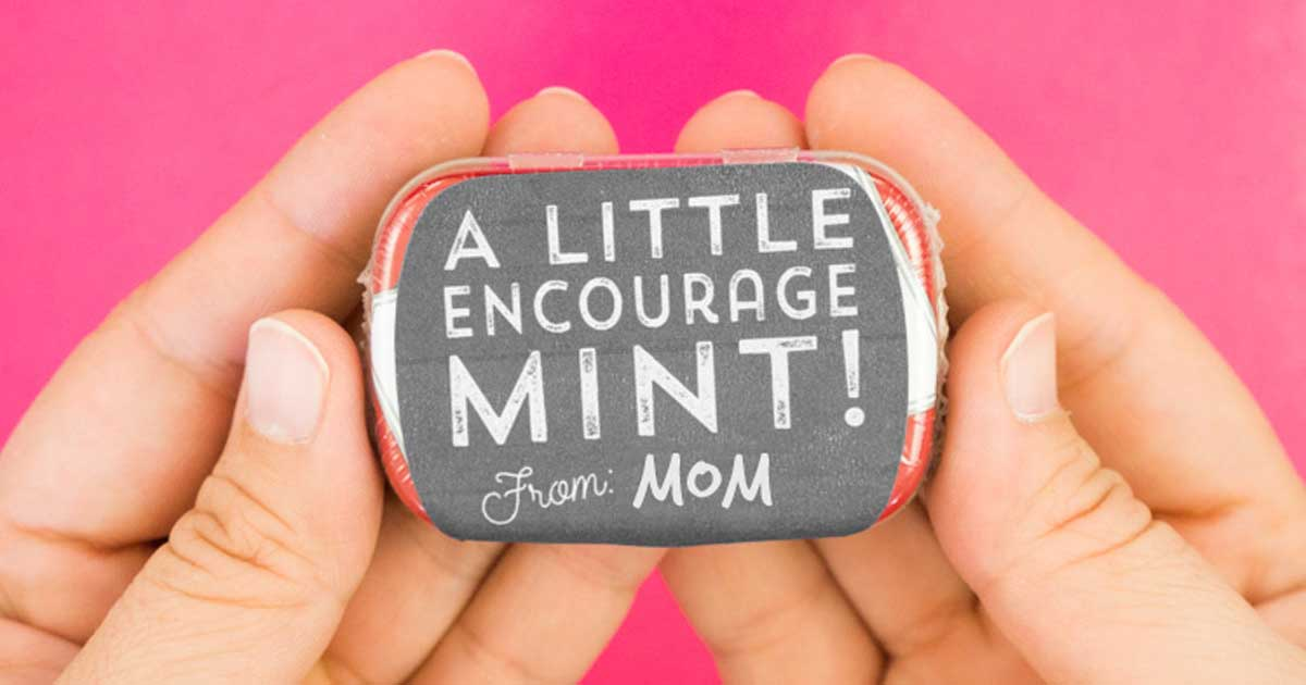 Student gift for exam week: peppermint tin with printable sticker template