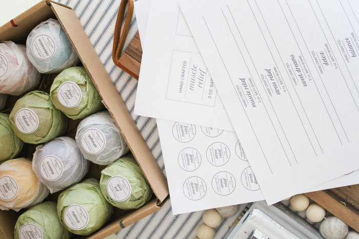 Free printable product label templates for handmade bath bomb business owners