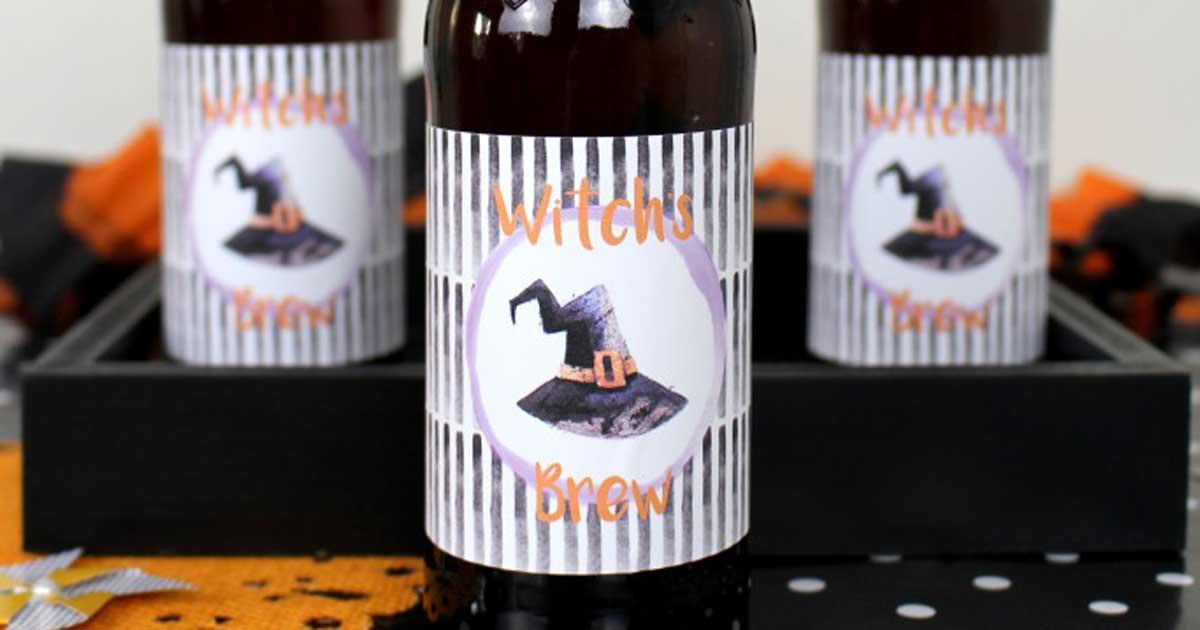 Beer bottle label template for Halloween