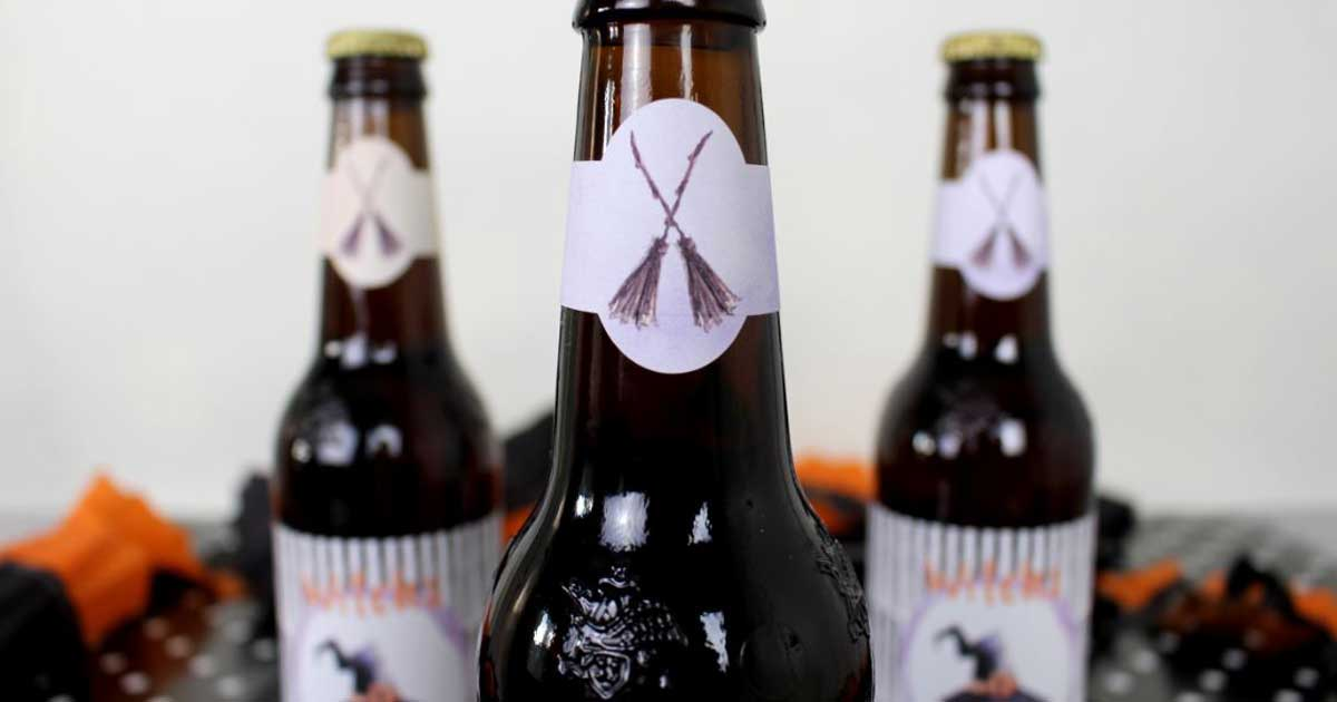 Beer bottle neck label printable template for Halloween