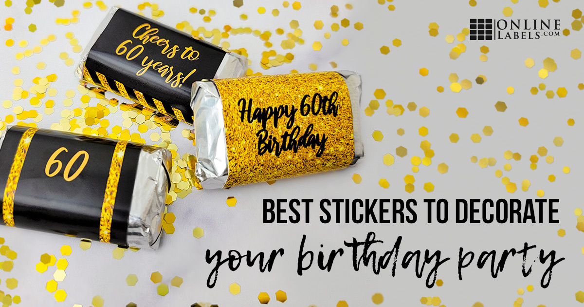 Mini cholcolate bars with 60th birthday party stickers