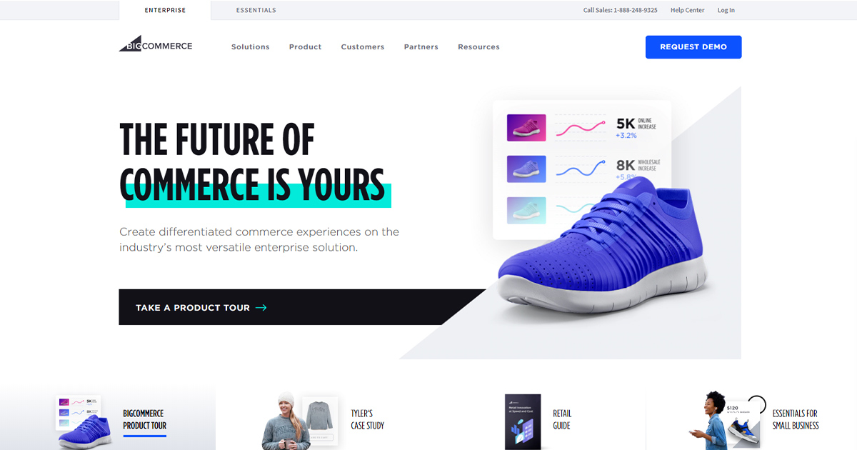 BigCommerce homepage: webstore option for small businesses.