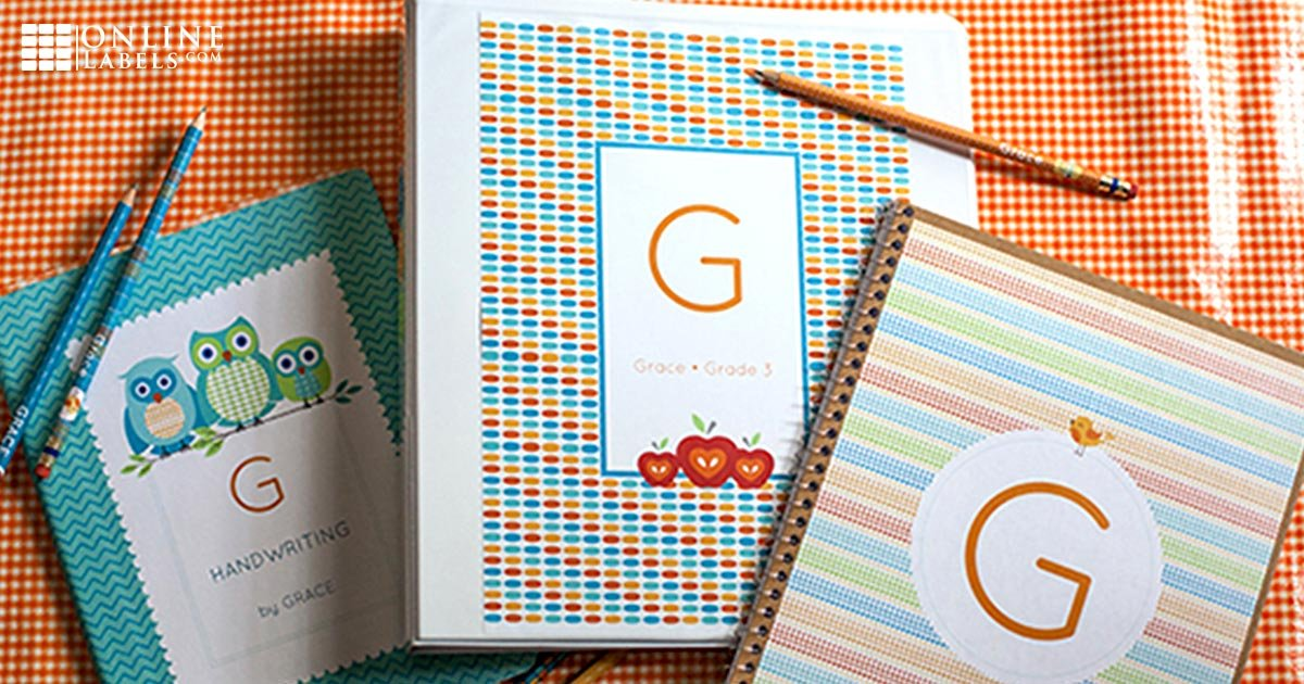 Organize binders/notebooks/folders for different kids and classes with personalized nameplates