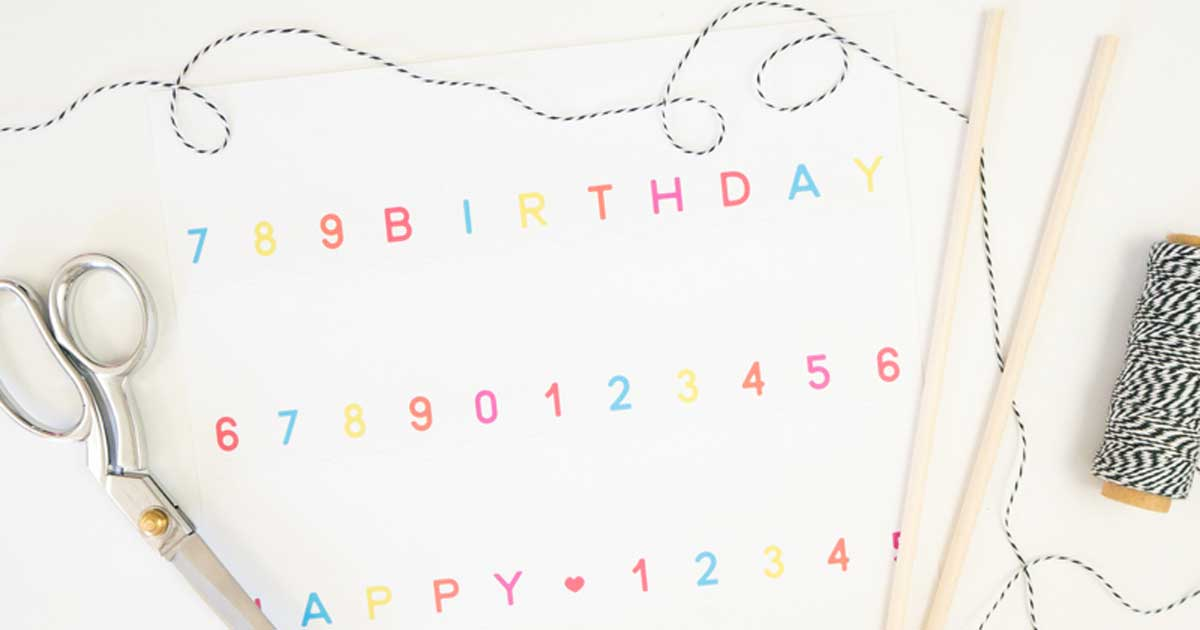 Supplies for homemade birthday cake banner