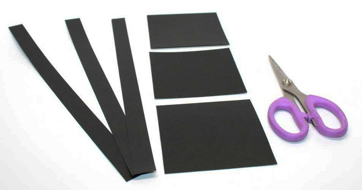 Black paper cut into the six strips