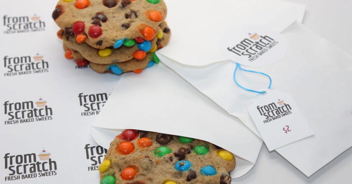 Cardstock price tag tied around cookie packagaing