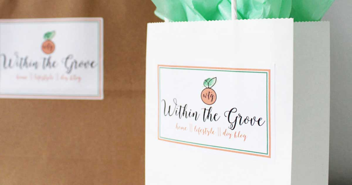Logo stickers on bags for boutique store and small business purchases