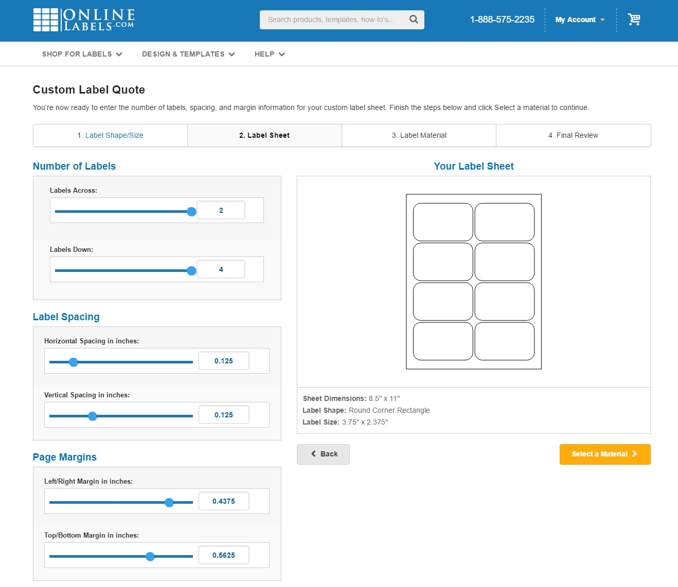 Configuring your custom sheet layout in the custom size generator