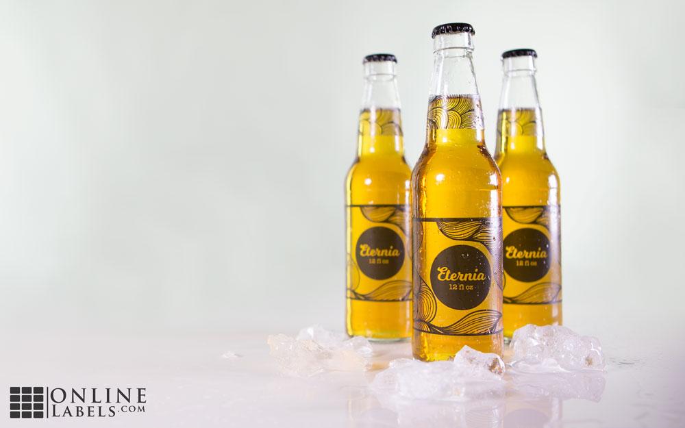 Custom beer bottles using clear gloss labels
