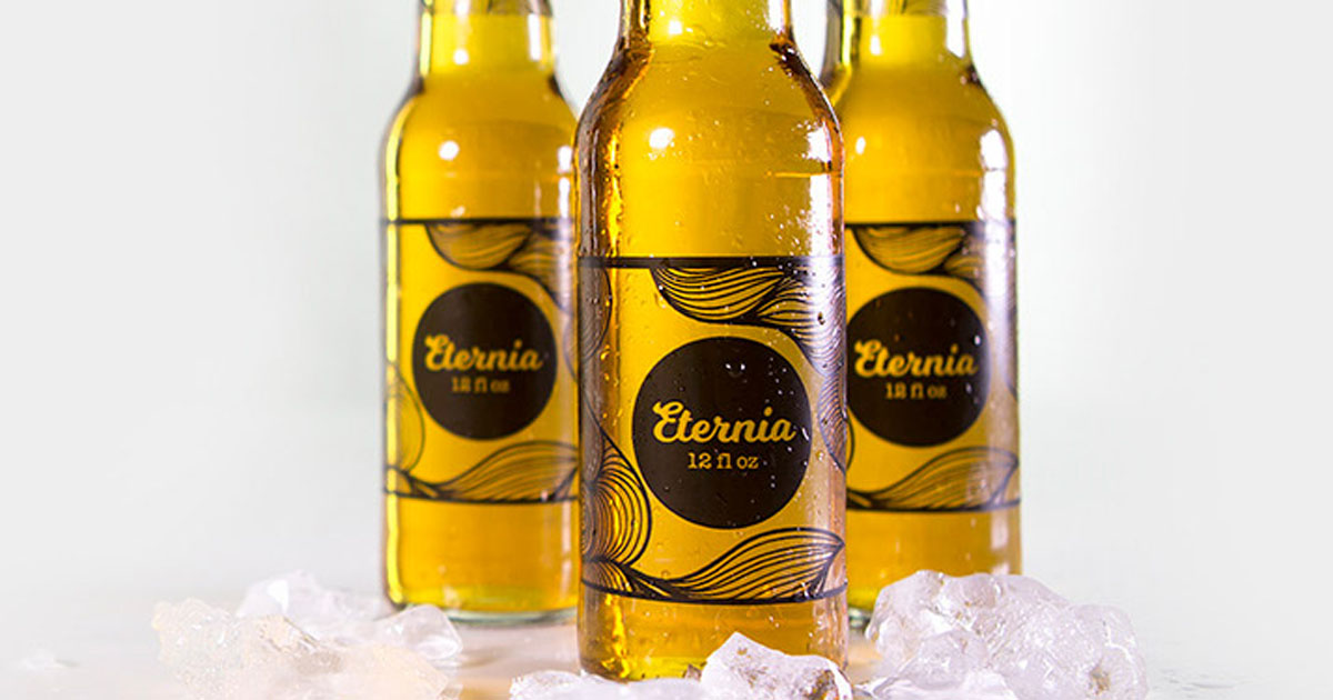 Beer bottles with clear gloss product labels