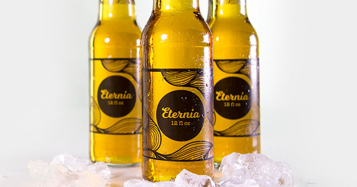 Beer bottles with clear gloss laser labels