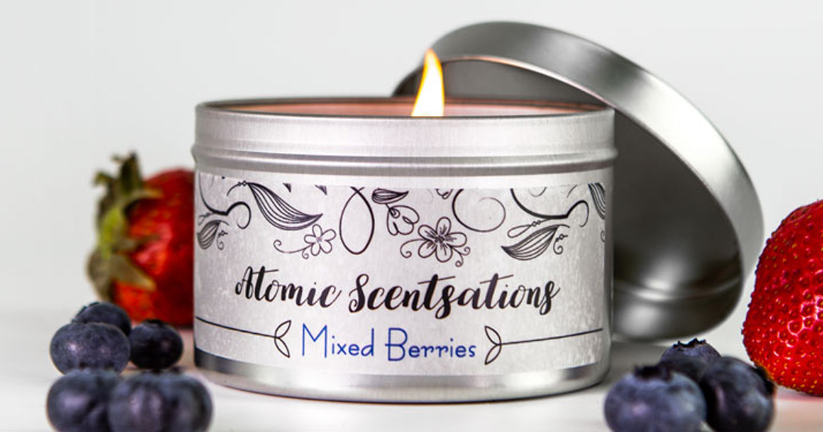 Tin candle jar with a clear matte product label