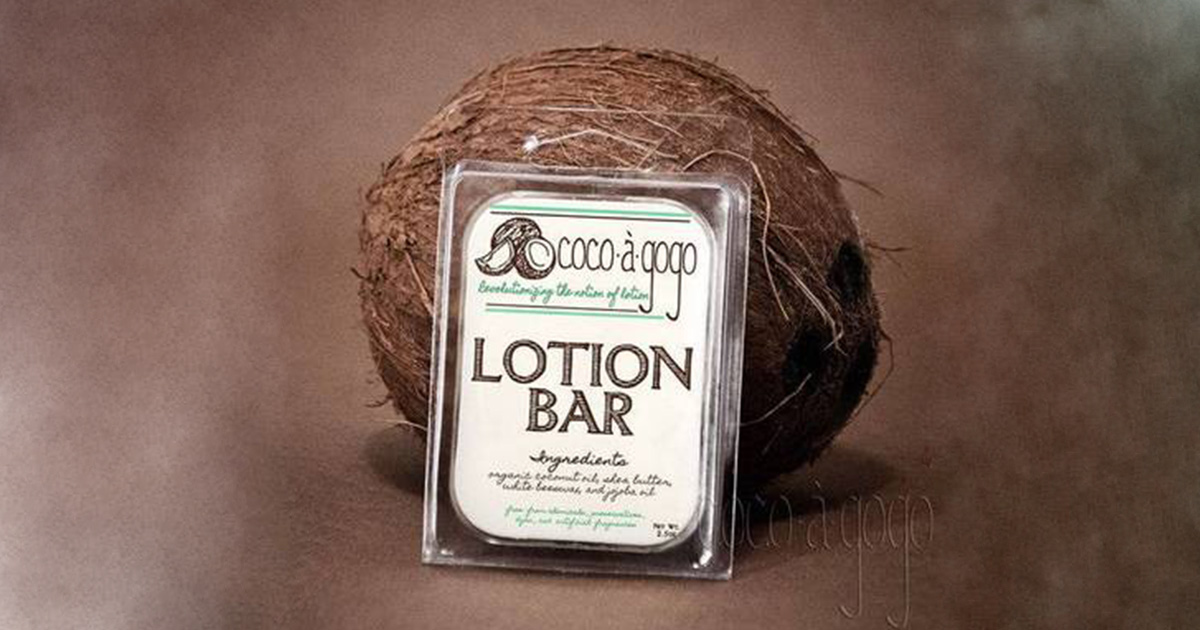 Clear matte labels on Cocoàgogo brand lotion bars
