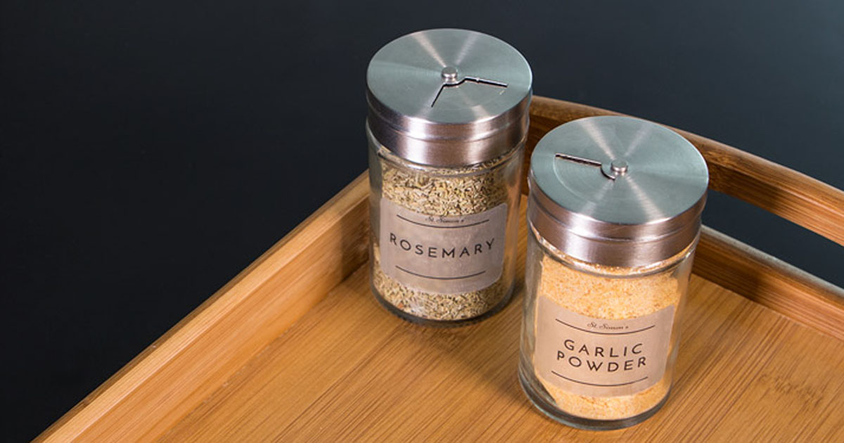 Spice jars with clear matte laser labels