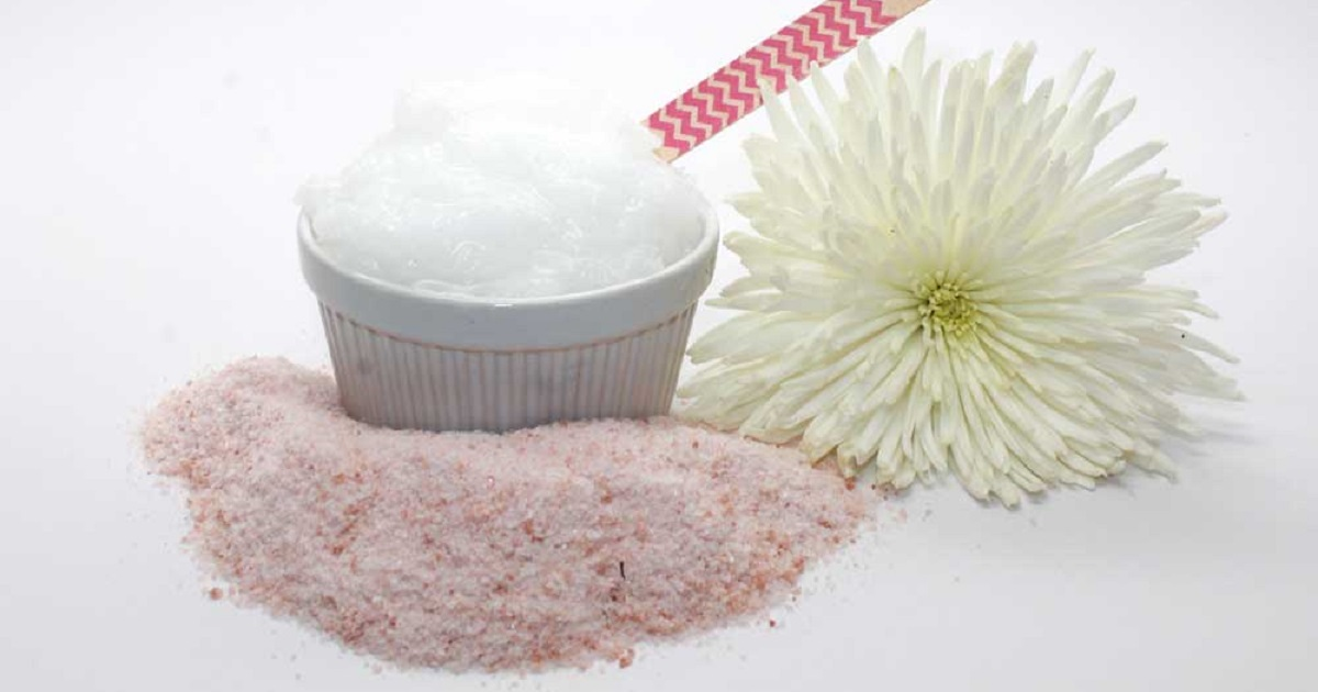Ingredients for handmade coconut salt scrub