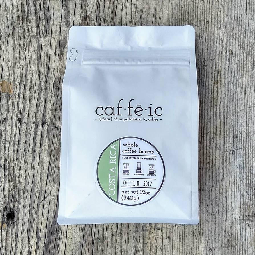 Caffeic Coffee Roasters bag label
