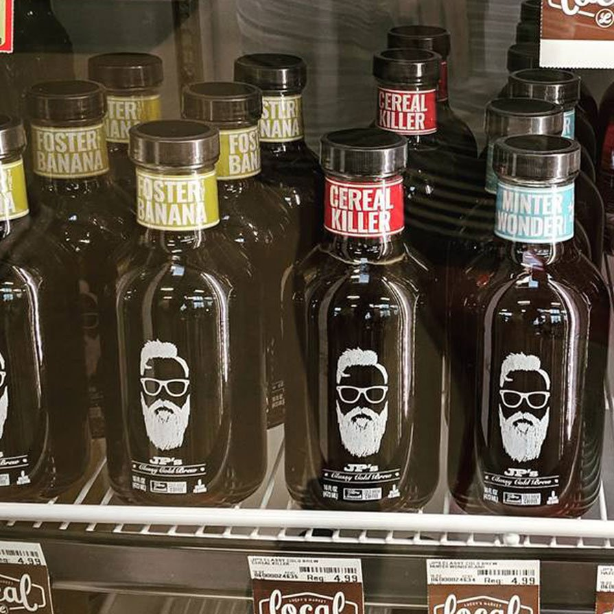 JP's Classy Cold Brew bottle labels