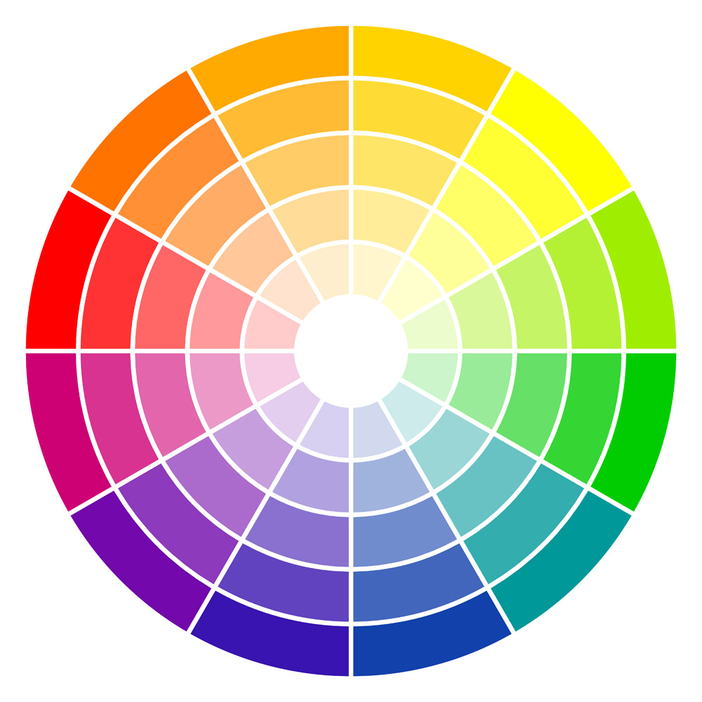 Color wheel graphic.