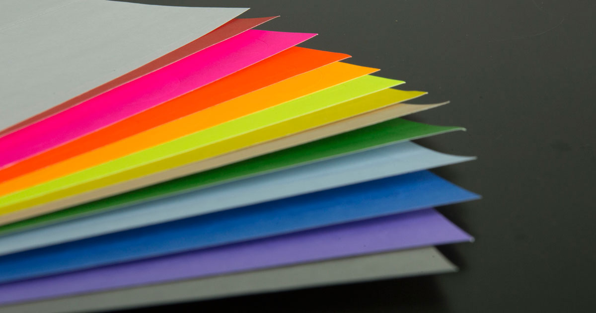 Variety of sticker paper colors and materials available from OnlineLabels; material fan