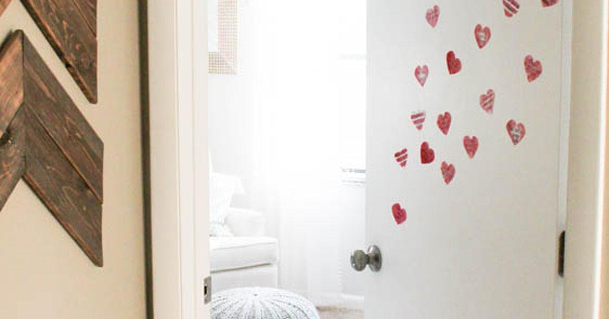 Heart stickers on children's room doors