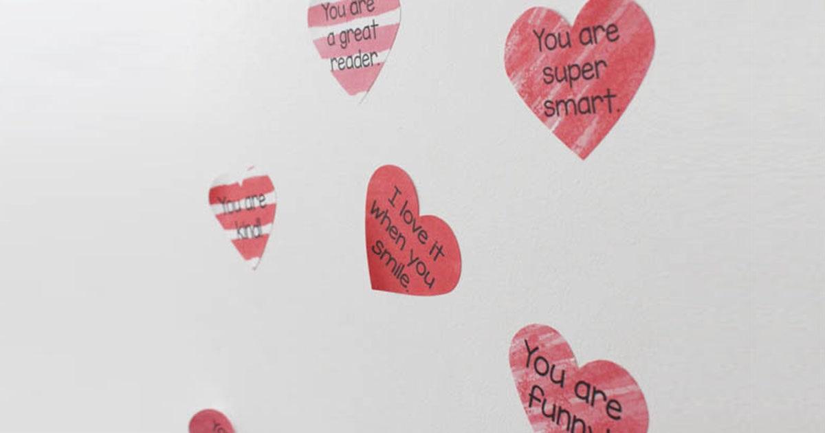 Heart stickers on bedroom door for Valentine's Day