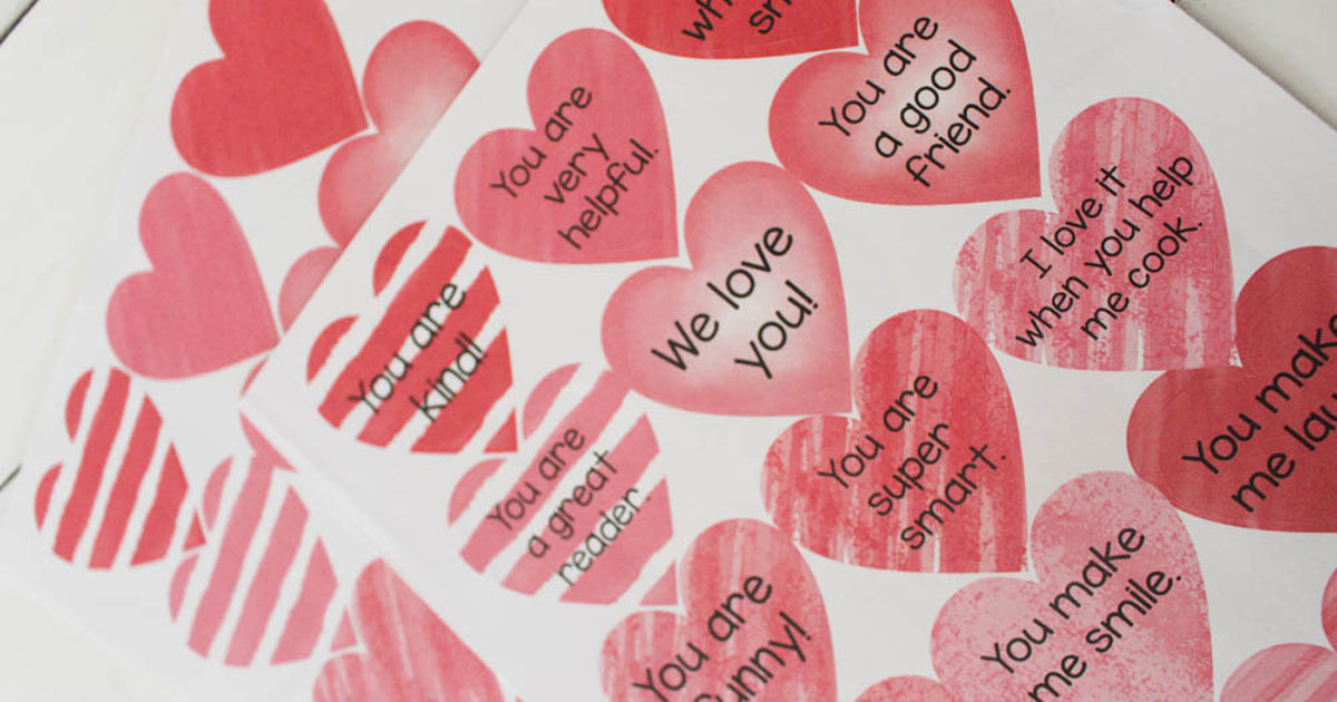 Compliment heart stickers printable template
