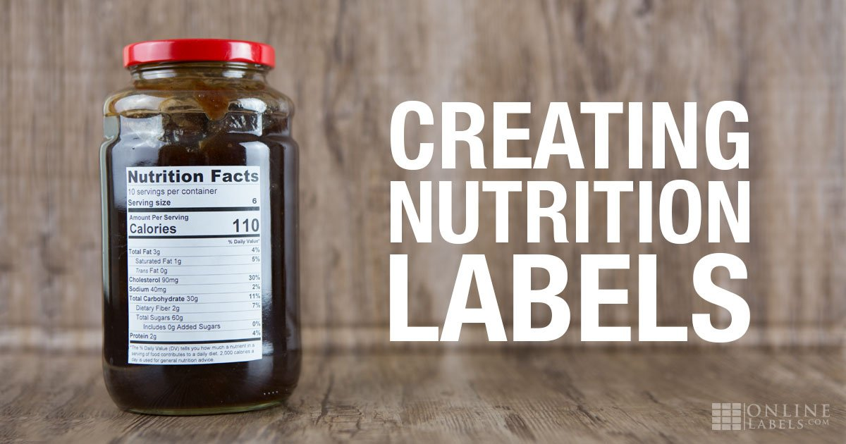 Jam jar with nutrition facts label made using the Nutrition Label Generator at OnlineLabels.com