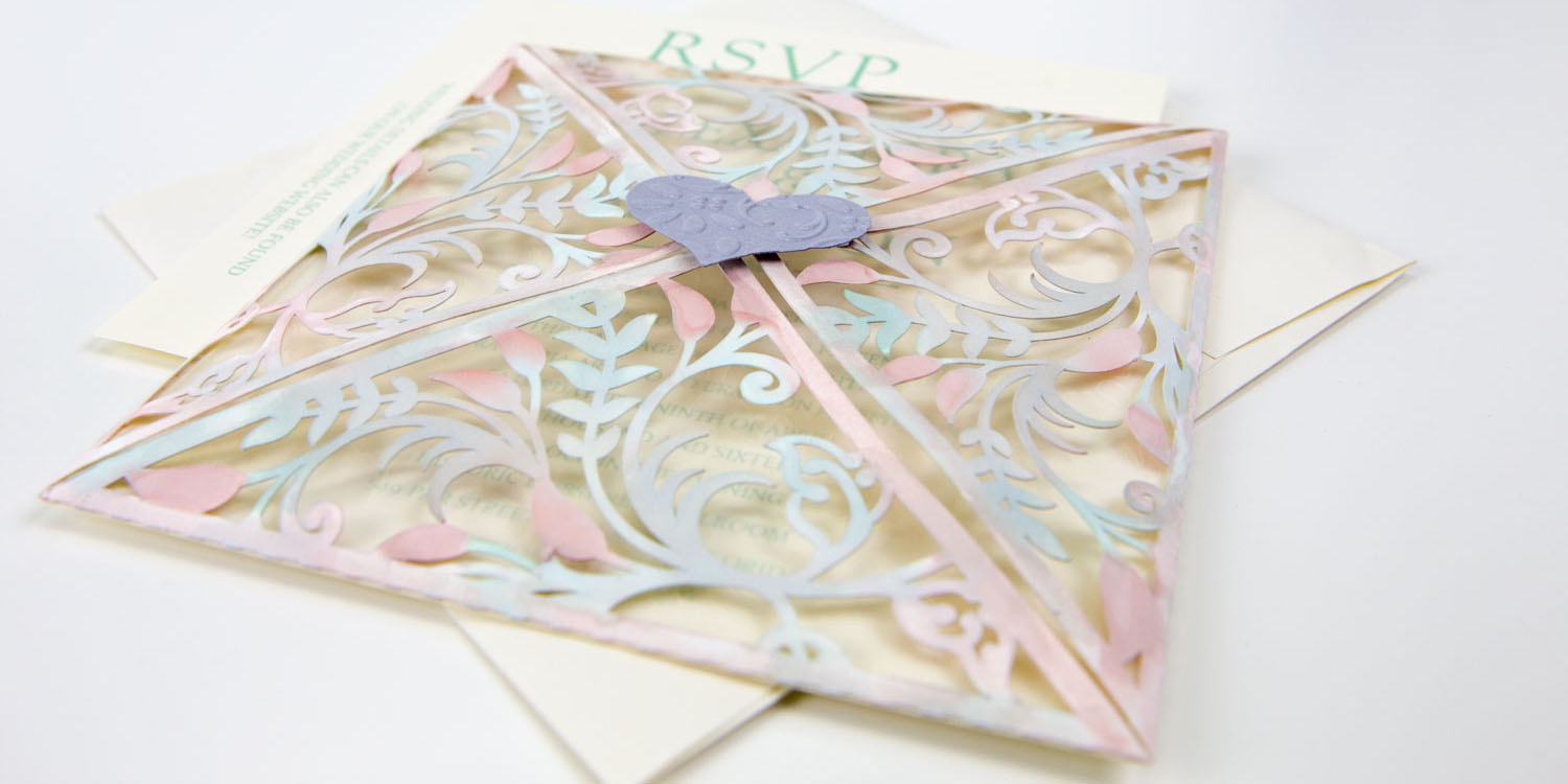 custom cut designs on wedding invitations