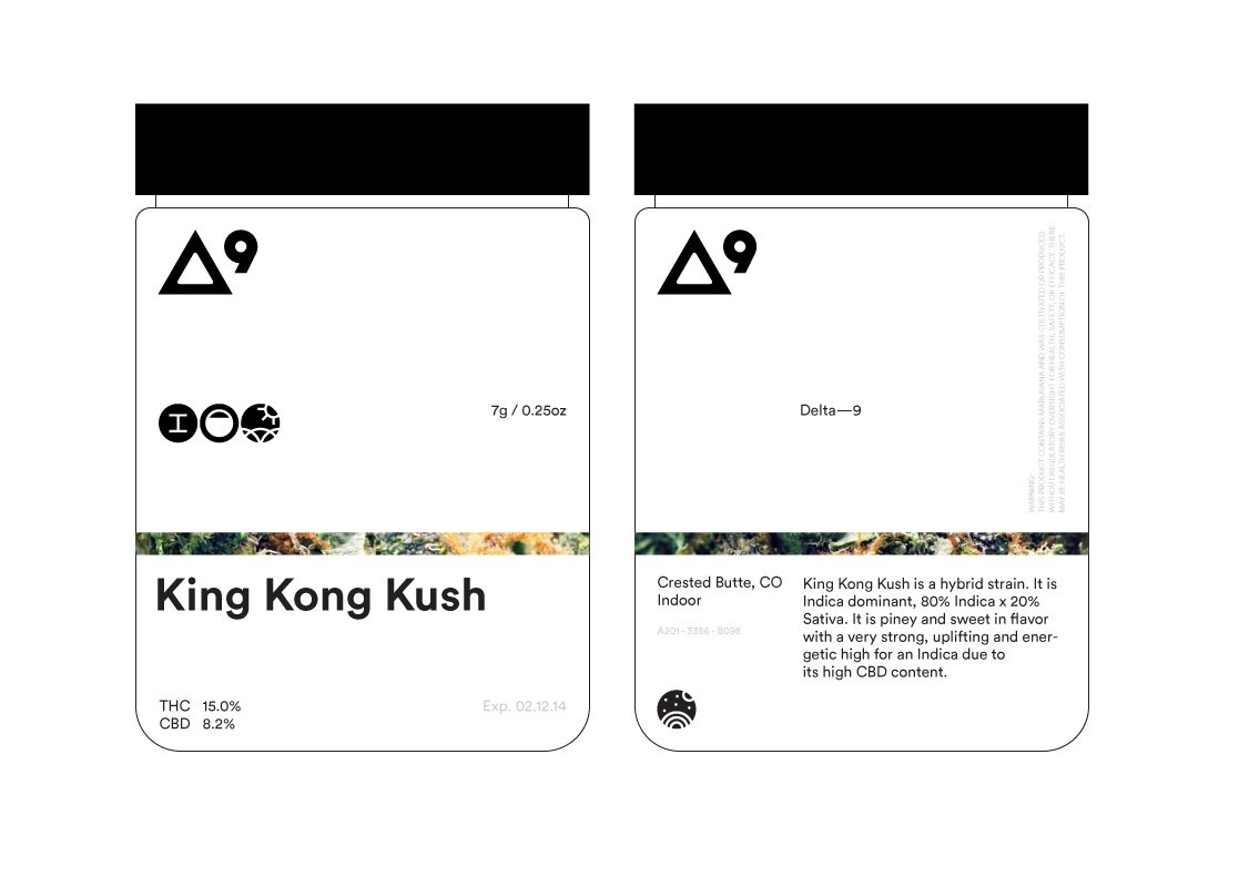 Packaging outline of Delta-9's marijuana jar