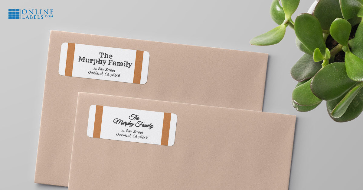 The same label design using two different fonts: How fonts change the look and feel of your return address label/envelope