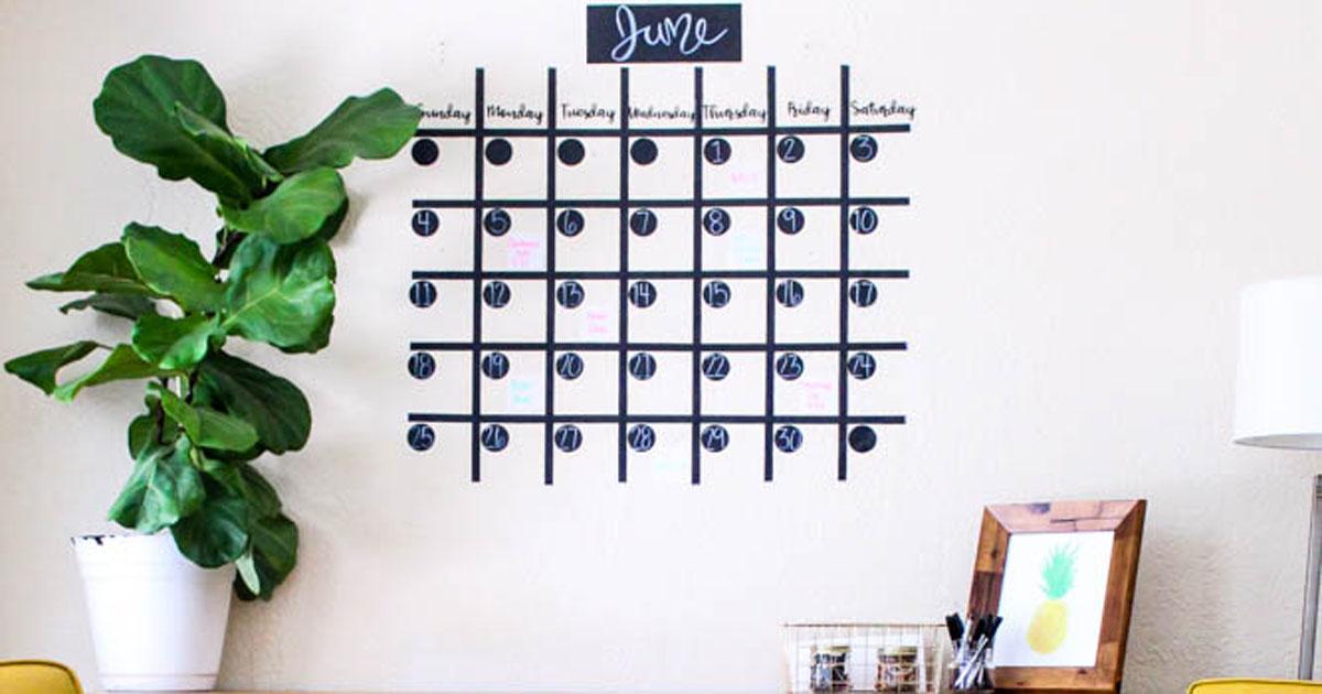 Full-size chalkboard wall calendar